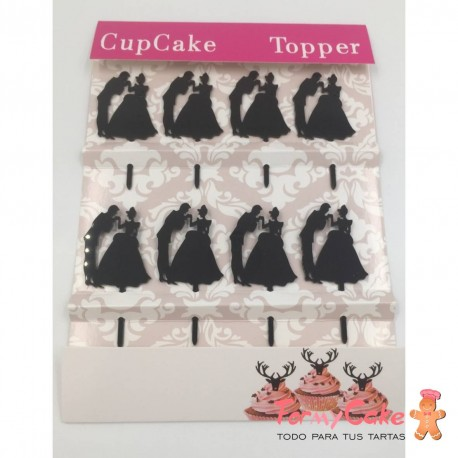 Topper para Cupcakes Silueta Novios 2, 8ud