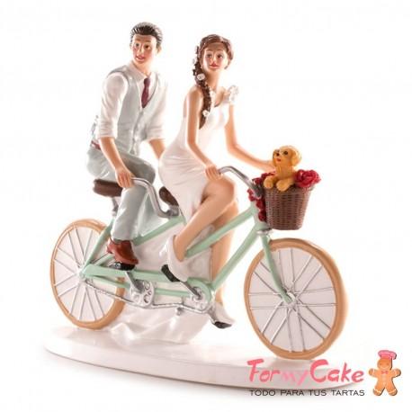 "Figura para Tarta Novios ""Pareja en Bicicleta"" 21x19x9cm Dekora"