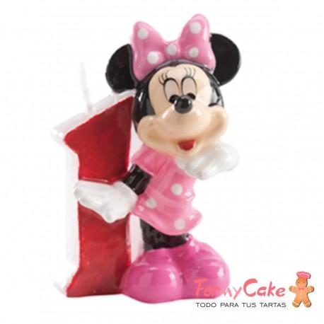 Vela Minnie Mouse nº1 7cm Dekora