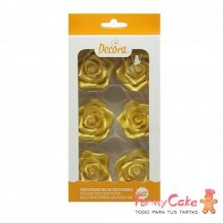 Rosas Comestibles Oro Brillante 6ud Decora
