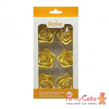 Rosas Comestibles oro 6ud Decora