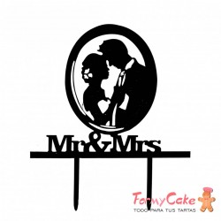 Cake Topper Acrílico Mr & Mrs Modelo 2