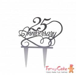 Cake Topper Acrílico 25 Aniversario Plata