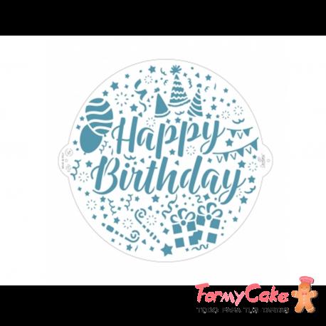 Stencil Happy Birthday 25cm Decora