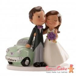 Figura para Tarta Novios Coche Just Married 11,5cm Dekora