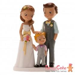 Figura para Tarta Novios Con Niño 16cm Dekora