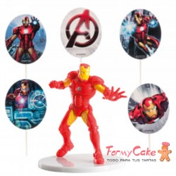 "KIT PVC CON PINCHOS ""IRON MAN"" PARA DECORAR TARTAS"