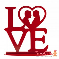 """TOPPER PARA TARTA BODA """"LOVE"""" METAL ROJO 19X19 CM"""