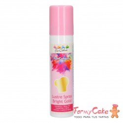 Colorante en Spray Metallic Bright Gold, 100ml Funcakes