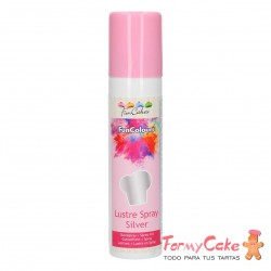 Colorante en Spray Metallic Silver, 100ml Funcakes