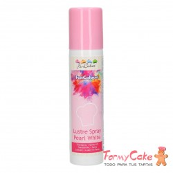 Colorante en Spray Metallic White, 100ml Funcakes