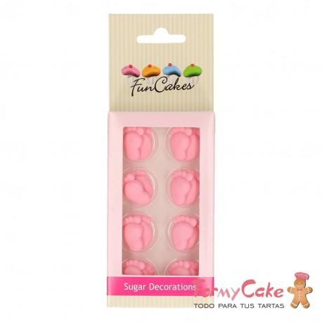 Set Decoraciones De Azúcar Pies Bebe Rosas, 16ud. Funcakes