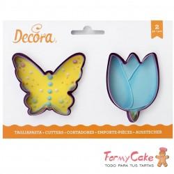 Kit 2 Cortadores Mariposa Y Tulipán Decora