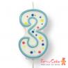 Velas para Tartas Azul Número 3 PME