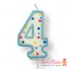 Velas para Tartas Azul Número 4 PME