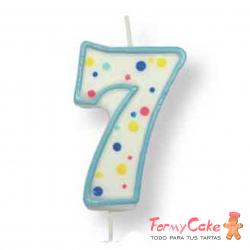 Velas para Tartas Azul Número 7 PME