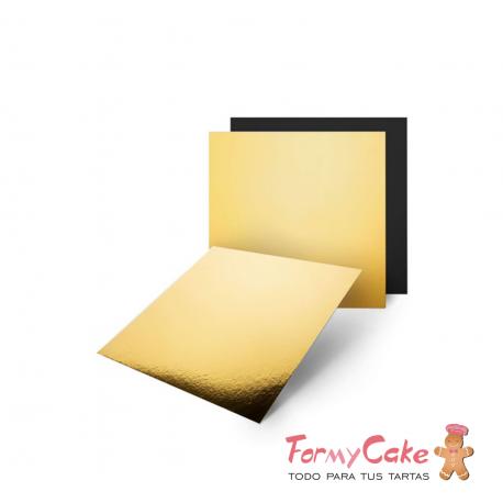 Base Cuadrada Oro/Negra para Tartas 15cm Pastkolor
