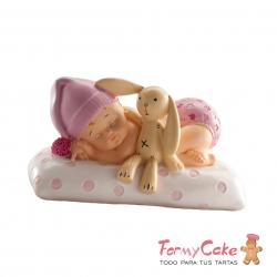 Figura para Tarta Bautizo Bebé con Peluche Rosa Dekora