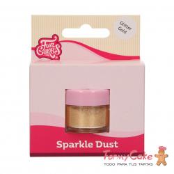 Purpurina Comestible FunColours Sparkle Dust Glitter Gold, 3,5g. Funcakes