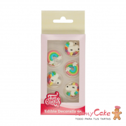 Decoración Azucar Arcoiris y Unicornios 8ud Funcakes
