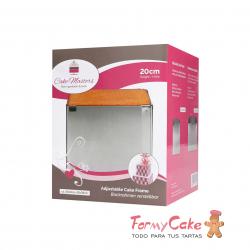 Molde Metal Cuadrado Ajustable 20cm Alto Cake Frame