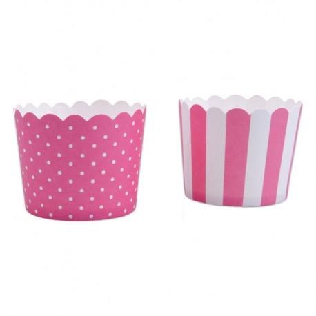 Mini Capsulas Stadter Para Cupcakes Rosa-Blanco