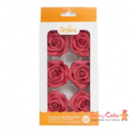 Rosas Comestibles Rojas 6ud Decora