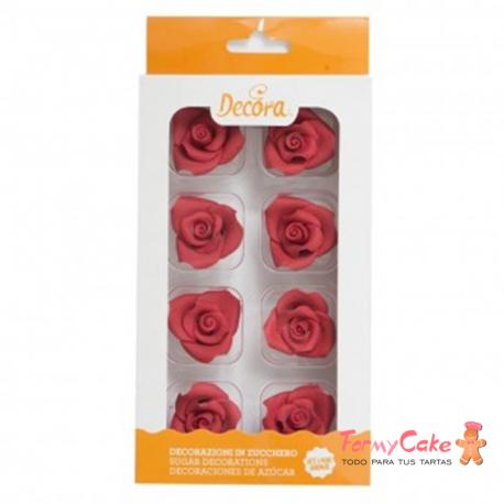 Rosas Comestibles Rojas 8ud Decora