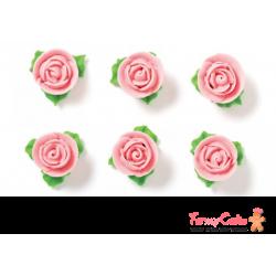 Rosas Comestibles Rosas 6ud con Hoja Decora