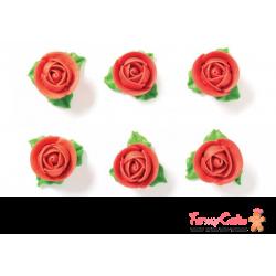 Rosas Comestibles Rojas 6ud con Hoja Decora