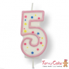Velas para Tartas Rosa Número 5 PME