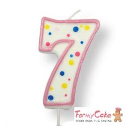 Velas para Tartas Rosa Número 7 PME