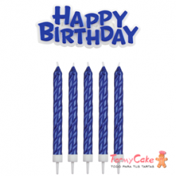 Set de Velas y Happy Birthday Azules 17ud PME