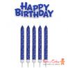 Set de Velas y Happy Birthday Azules 17ud PME