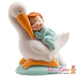 Figura para Tarta Bautizo Cigüeña y Bebé Azul Dekora