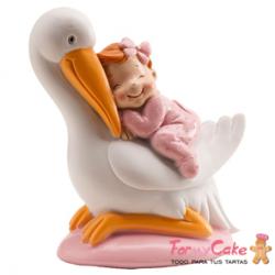 Figura para Tarta Bautizo Cigüeña y Bebé Rosa Dekora