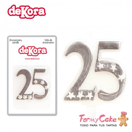 Vela 25 Aniversario Dekora 6cm