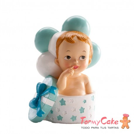 Figura para Tarta Bautizo Bebé Regalo Y Globos Azul Dekora